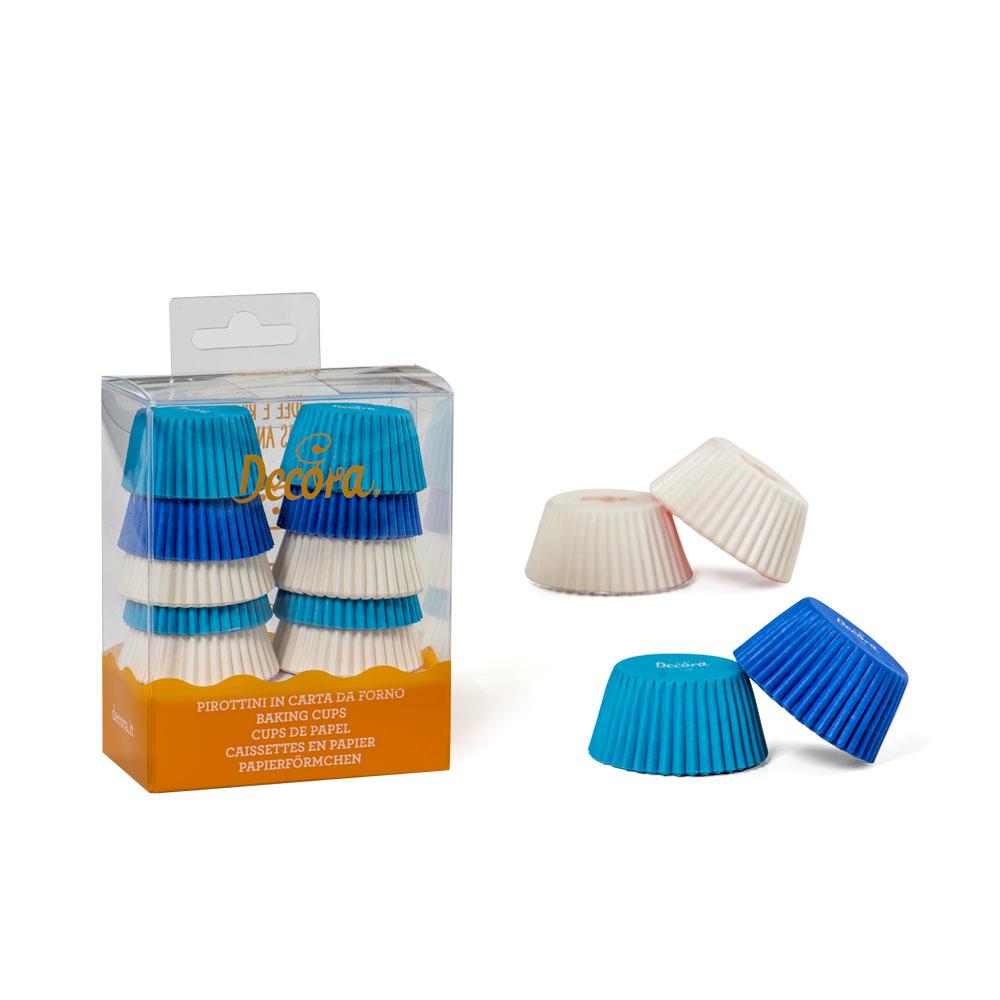 Mini cápsulas Cupcakes Blancas, Celestes y Azules 200 uds