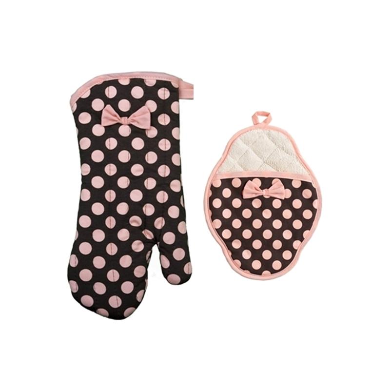 Set Guantes de Horno Brown & Pink polka dot