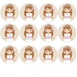 12 Impresiones en Oblea Niña Comunión Castaña A -- My Karamelli