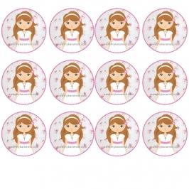 12 Impresiones en Oblea Niña Comunión Castaña B ---- My Karamelli