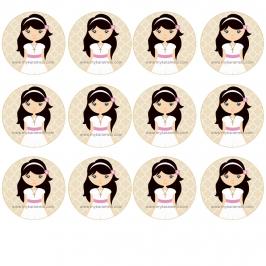 12 Impresiones en Oblea Niña Comunión Morena A -- My Karamelli
