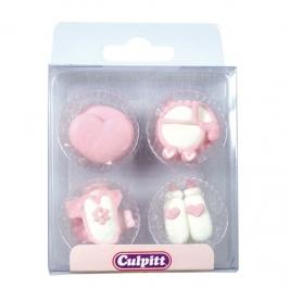 Set 12 decoraciones de azúcar Bebé rosa