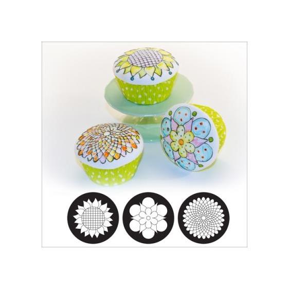 Set 3 texturizadores para galletas y cupcakes Whimsy Blooms