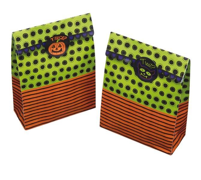Pack de 8 bolsas de halloween con adhesivos