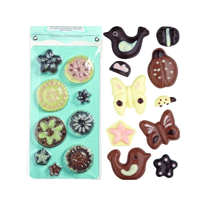 Set de 2 moldes para chocolate Flower & Bug