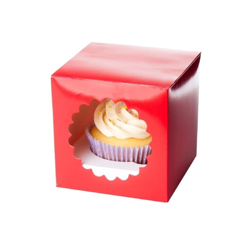 Caja para 1 cupcake color roja