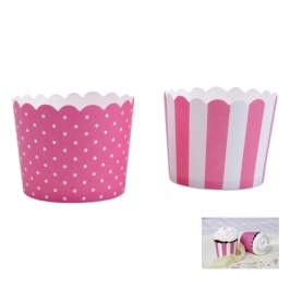 Mini Muffin Wrapper Pink & White