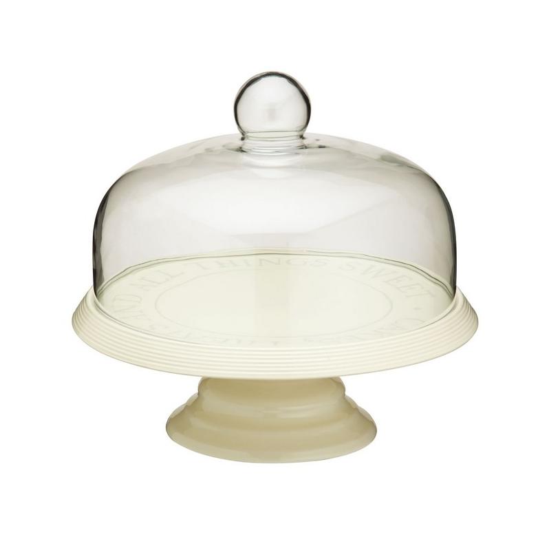 Cake Stand de cerámica con tapa de vidrio