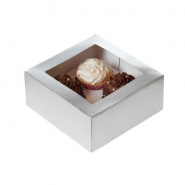Caja 4 cupcakes Plata House of Marie
