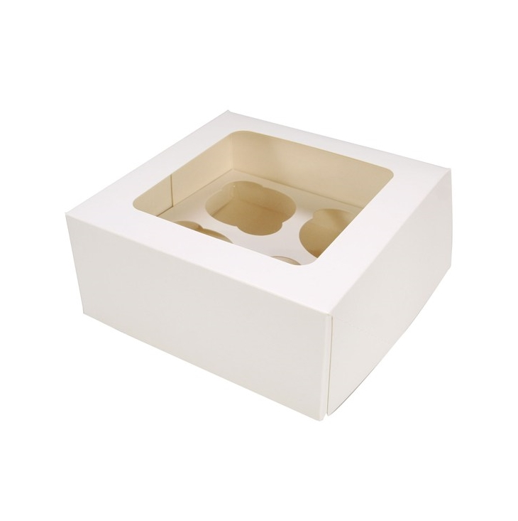 Caja para 4 cupcakes Blanca Culpitt