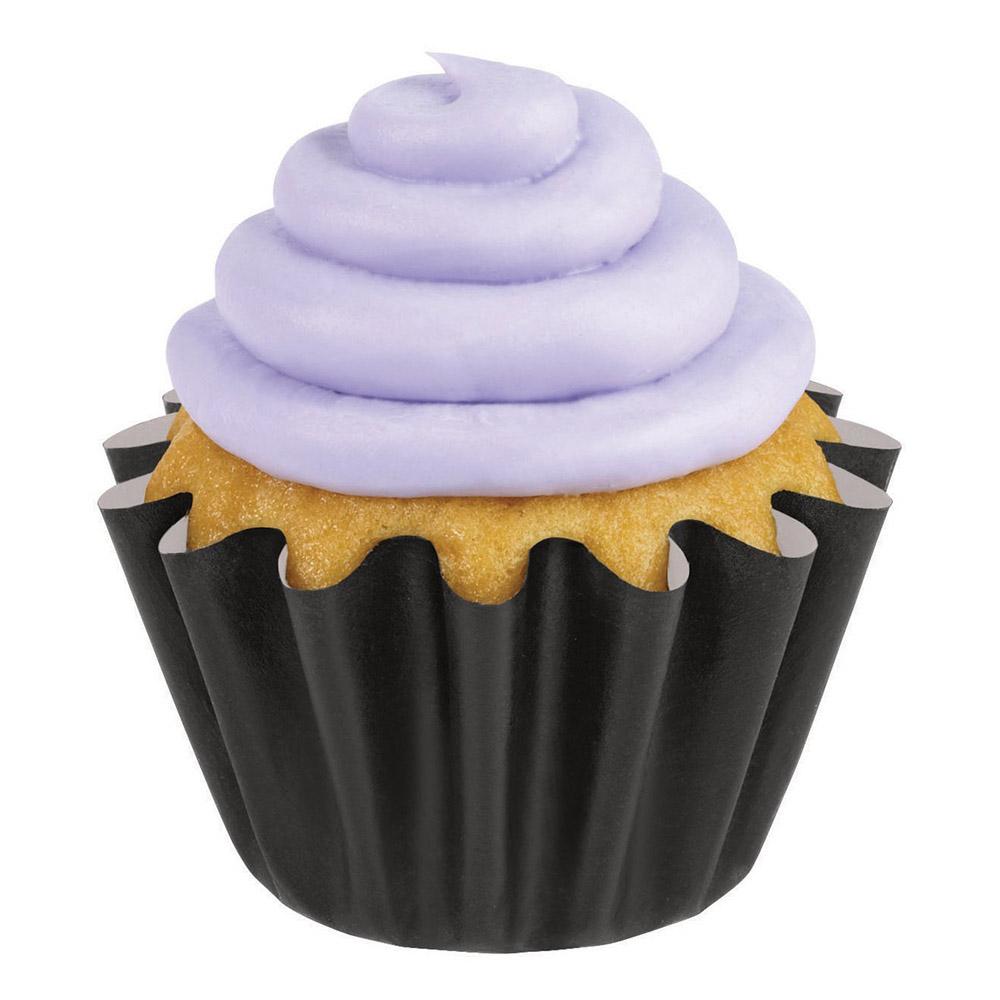 24 Cápsulas para Cupcakes Negras Onduladas