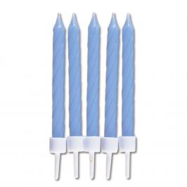 Juego de 10 velas con soporte para tartas Baby blue