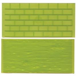 Juego de 2 tapetes texturizadores Muro de ladrillos y corteza de árbol