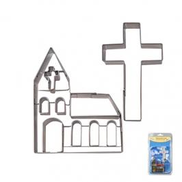 Set 2 cortadores iglesia y cruz inox