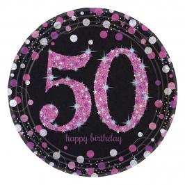8 platos de cartón para 50 cumpleaños de Pink Sparkling