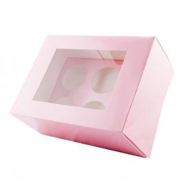 Pack de 2 Cajas para 6 Cupcakes Extra Alta Rosa