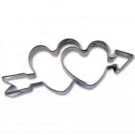 Mini cortador Doble corazón con flecha 4 cm