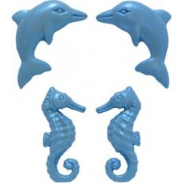 Molde silicona Caballitos de mar y delfines