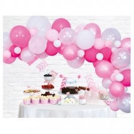 Arco de globos para fiestas en color rosa