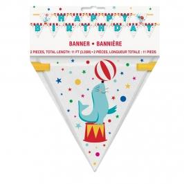 Banderín Circo Feliz Cumpleaños 3 m