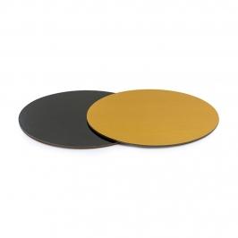 Base Rígida Redonda Negro/Oro 27 cm