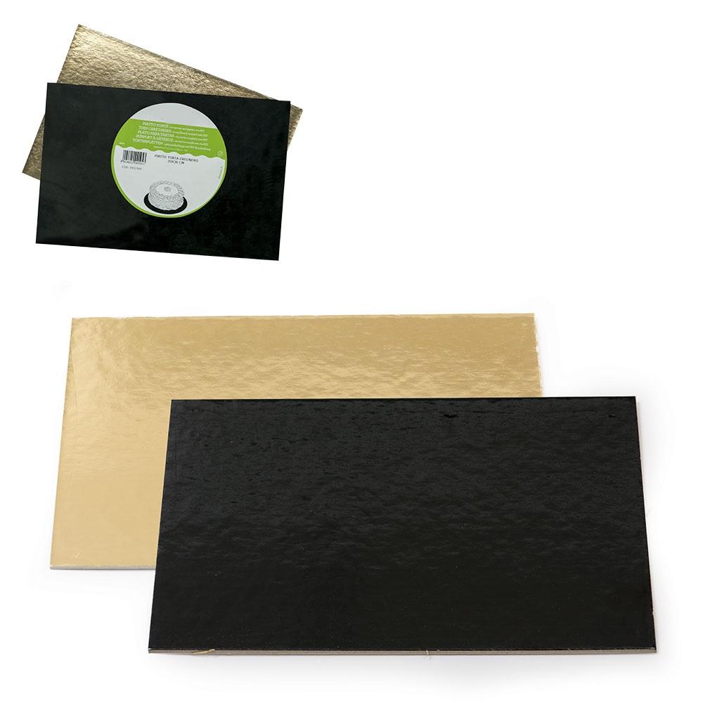 Base Rígida Rectangular Negra y Oro 20 x 30 cm