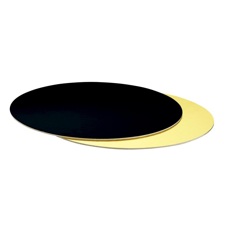 Base Rígida Redonda Negro/Oro 36cm