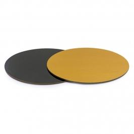 Base Rígida Redonda Negro/oro 32,5 cm