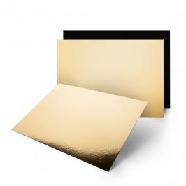 Base Rectangular Dorada y Negra 42 cm x 17 cm