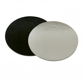 Base rígida redonda negro/plata 32cm