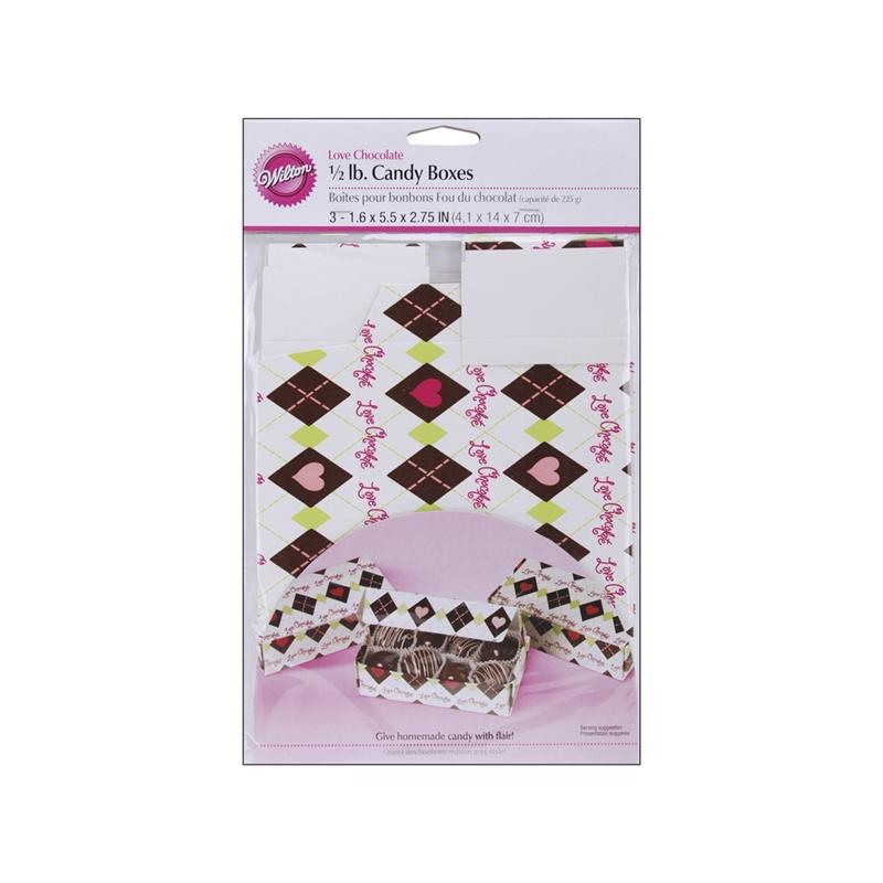 Set de 3 cajas para chocolates y galletas Love