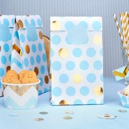 Bolsas Blancas con Lunares Azules y Dorados