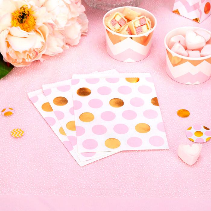 Bolsitas Blancas con Lunares Rosas y Dorados