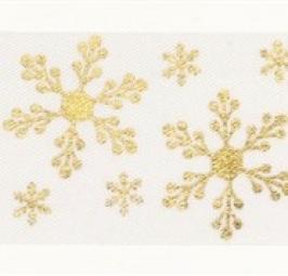 Cinta Satinada Gold Snowflake (2 mts)