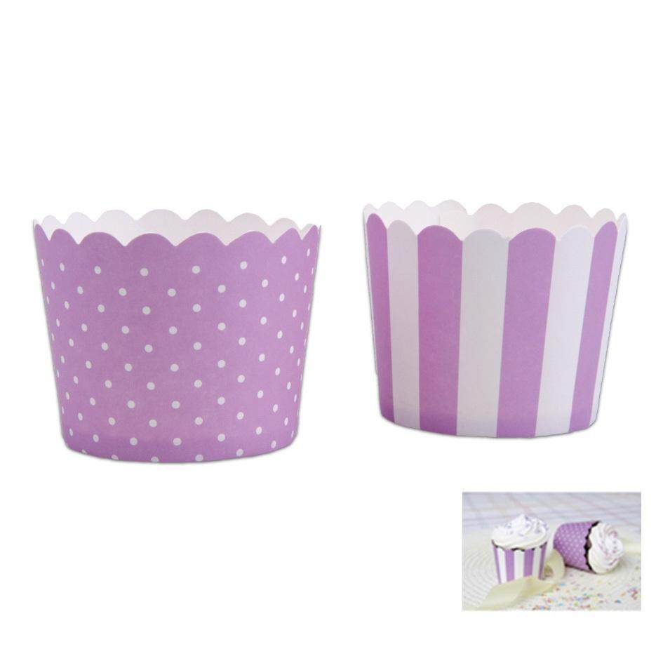 Mini Muffin Wrapper Lilac & White