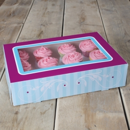 Caja 12 cupcakes modelo Elegance