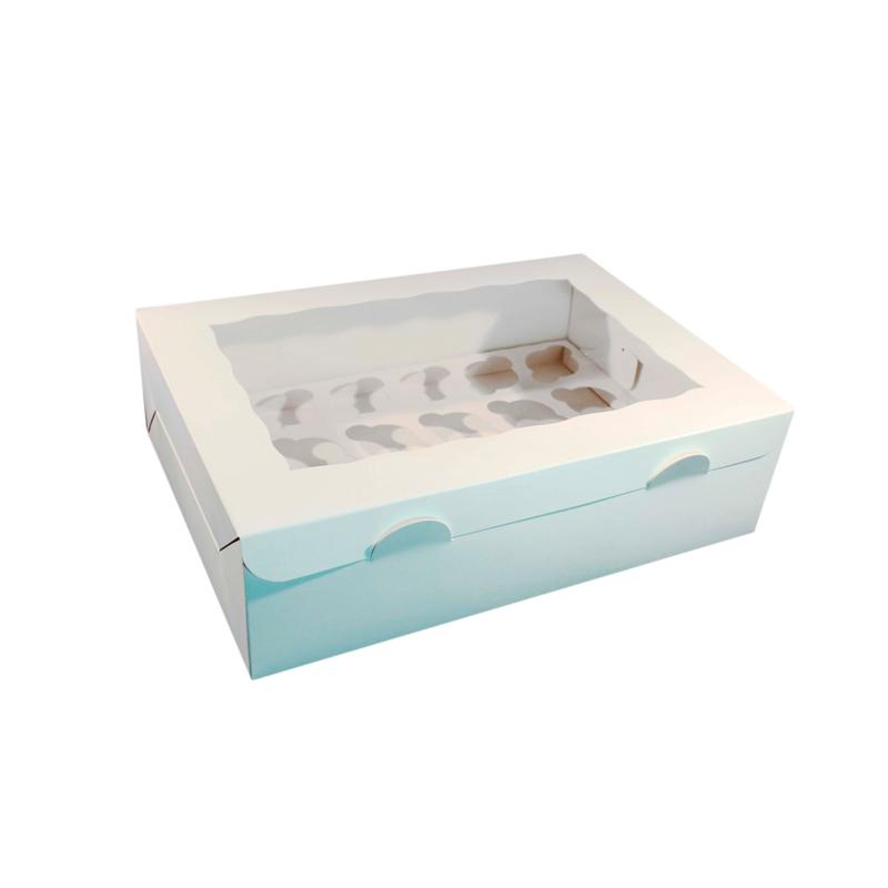 Caja 12 cupcakes en color blanco