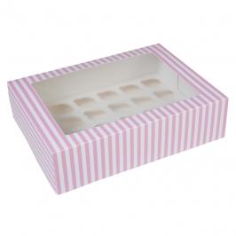 Caja 24 mini cupcakes Rosa y blanco