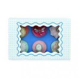 Caja para 6 cupcakes Luxury azul con detalles en blanco