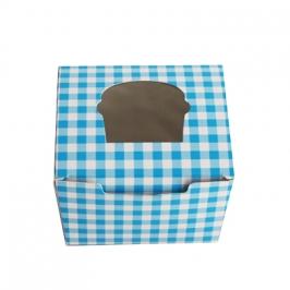 Caja cupcake 1 ud. Gingham color celeste