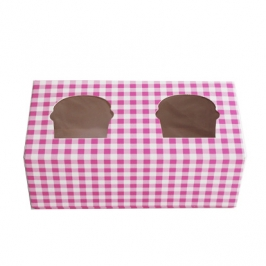 Caja cupcakes 2 uds. Gingham color rosa