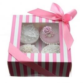Caja para 4 cupcakes Luxury rosa y blanco