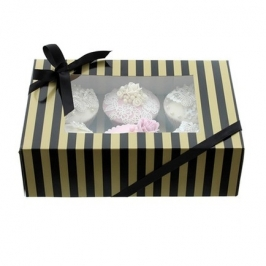 Caja para 6 cupcakes Luxury Negro y Oro