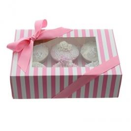 Caja para 6 cupcakes Luxury Rosa y Blanco
