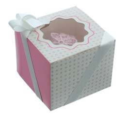 Caja para 1 cupcake Luxury rosa con detalles en blanco