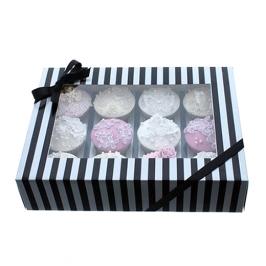 Caja para 12 cupcakes Luxury Negro y Plata