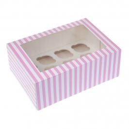 Caja para 12 Cupcakes Rosa y Blanco 2 ud