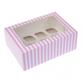 Caja para 12 Mini Cupcakes Rosa y Blanca 2 Ud