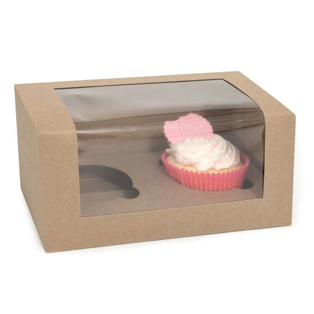 Caja para 2 Cupcakes Kraft 3 Ud