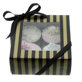 Caja para 4 cupcakes Luxury negro y oro